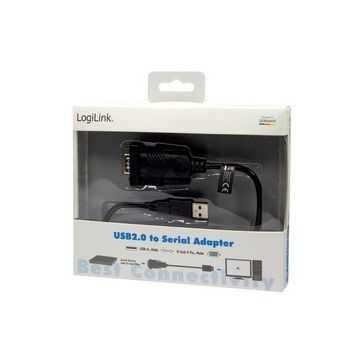 LogiLink USB 2.0 - RS232 Adapterkabel, schwarz, 1,5 m